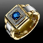 Two Tone 925 Silver  Gold Plated Rings for Men Blue Sapphire Ring Size 6 12