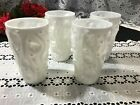 Set of 4 White Milk Glass Thumbprint Bark Pattern Tumblers 5 1 2