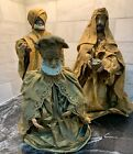 Three 3 Vintage Paper Mache Wise Men Kings For Nativity Set