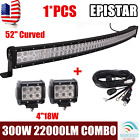 300W 52inch Curved Led Light Bar Combo 4W+2X 4 18W LED Pods+Wiring Harness Kit