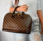 LOUIS VUITTON Alma Damier Ebene Handbag Tote w Lock Key  Dust Bag