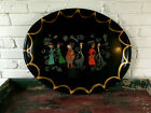 COLLECTIBLE HANDPAINTED LARGE BLACK TOLE TRAY WITH CHARACTERS COCKTAILS APPETIZE