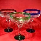 Mexican Margarita Glasses Set of 3 Mouth Blown Bubble Glass Mexico 625 approx