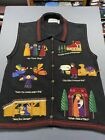 Vintage Sharon Young Nativity Christmas Sweater Vest Sz XL Embroidered VTG Rare