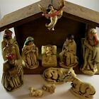 11 Piece Vintage Chalkware Nativity Set with Wooden Creche Korea