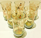 VINTAGE Libbey Smokey Tawny Amber Brown Butterfly 14 oz. Tumblers Set of 6