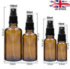 AMBER Glass Spray Bottles with BLACK ATOMISER Mist Spray Refillable 10 100ml