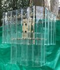 vintage Large 40 Glass panel mid century modern swag chandelier Italy 1960s