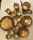 AntiqueKoshida Kyo Satsuma Thousand Flowers Tea Set Rare Vintage