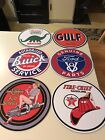 "(6) SIGNS 12"" FORD BUICK SINCLAIR HARLEY TEXACO GULF pump Plate Quality Signs"