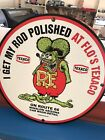 "TEXACO HOT ROD ROUTE 66 GASOLINE ADVERTISING SIGN RAT FINK 24"" Vintage Look"