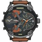NEW DZ7332 Mr. Daddy 2.0 Brown Leather Strap 57mm Black Dial Chronograph Watch