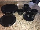 FIESTA WARE SET OF 14 BLACK DINNER DISHES AND CUPS
