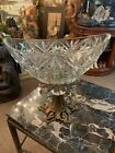 Vintage Diamond Cut Glass Compote Candy Dish Brass Bronze Metal Footed Pedestal