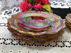 Set of 4 Indiana Glass Amber Iridescent Cabbage Embossed Dinner Plates 10