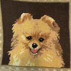 Pomeranian Happy Dog Needlepoint Pillowcase 10 Velveteen Back w Zipper CUTE