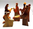 Vtg Puckane Crafts Nativity Set Scene Multi Wood Inlay 8 Pc Ireland Signed