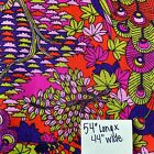 Bright Bold Mid Century Fabric Rayon Peacock Print Synthetic Fabric 15 YDS Vtg