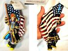Radko America's Bravest Patriotic Flag Firemen Fire Fighter Glass Ornament +Tag