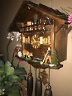 LARGE GERMAN ANIMATED DRINKING BULL 8 DAY MUSICAL CUCKOO CLOCK WITH DANCERS