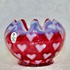 Fenton Rose Bowl Cranberry Glass Heart Optic Opalescent Glass
