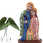 Wooden Nativity Scene Handpainted Colorful Floral Decoration