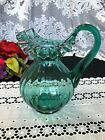 Green Depression Glass Ruffle Top Pulled Handle Pitcher 8 1 2