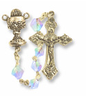 CRYSTAL GLASS BEADS GOLD PLATED ROSARY CRUCIFIX CROSS AND CHALICE CENTER