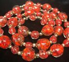 Vintage Red Murano Venetian Glass gold glitter aventurine necklace