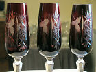 3 RUBY RED Cut to Clear Fluted CHAMPAGNE FLUTE S 8 1 4 VGC