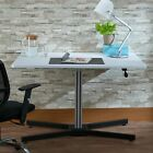 Rectangular Wooden Top Adjustable Desk With X Shaped Metal Small