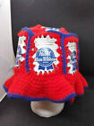 1970's Hand-Made Knitted Pabst Blue Ribbon Beanie Hat Very Unique