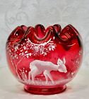 Fenton Rose Bowl Cranberry Glass Mary Gregory Limited Edition