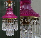 Vintage Amethyst Purple Lady cupcake glass crystal Brass SWAG lamp chandelier