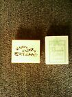 Wood Rubber Mounted Stamps HAPPY BIRTHDAY Thank You with Ribbon Bow