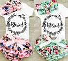 Newborn Baby Girls Tops Romper + Floral Tutu Shorts Headband Outfits Set Clothes