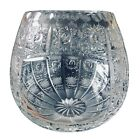 BOHEMIAN HAND CUT CZECH CRYSTAL ROUND VASE 6 QUEENE LACE