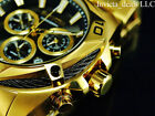 Invicta Men's 50mm BOLT SWISS Ronda Z60 Chrono BLACK DIAL 18K Gold Plated Watch