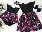 Newborn Kids Baby Girl Lace Floral Romper Skirt Dress+Headband Party Outfits Set