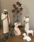 DEMDACO Willow Tree Nativity Scene Hand Painted Figures  Background Metal Stars
