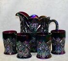 Fenton Water Set Amethyst Carnival Glass Pitcher  4 Tumblers