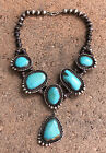 Old Pawn Native American Sterling Silver Sleeping Beauty Turquoise Bib Necklace