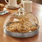 Cake Serving Galvanized Plate Stand Storage Container with Glass Dome Lid Cover