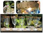 FIVE Tiffin Gold Encrusted Optic Clear Water Goblet Glasses Minton Pattern