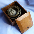 ANTIQUE VINTAGE DANISH IVER C WEILBACH SHIPS COMPASS GIMBAL IN WOODEN BOX