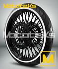 21X35 52 Fat Spoke Wheel Black for Harley Touring Bagger 08 UP w Tire Rotors