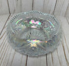 GORGEOUS Iridescent White Clear Carnival Glass Bowl