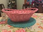 Celebrate It BN Pink Wicker Basket W Bag Shred Tag  Tie Easter Gift Decor