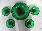 Anchor Hocking Forest Green Glass Burple Fruit bowl and 4 small bowls