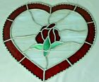 Handmade Stained Glass Large Heart With Center Rose Hanging Art 10 x 11